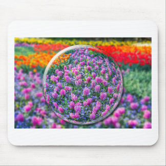 Crystall ball with pink hyacinths and flowers mouse pad