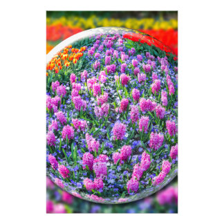 Crystall ball with pink hyacinths and flowers stationery