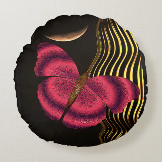 Crystalline butterfly round pillow