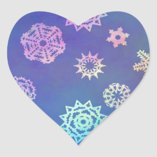 crystalline delight ~ snowflakes heart sticker