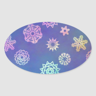 crystalline delight ~ snowflakes oval sticker