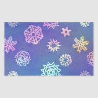 crystalline delight ~ snowflakes rectangular sticker