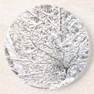 Crystalline Winter NC  Snow Water trees Sunrise Drink Coaster