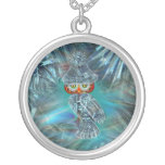 Crystallized Winter Fashion Owl Car Mirror Mojo Silver Plated Necklace
