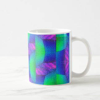 Crystals abstract art in pink blue & green coffee mug