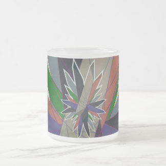 crystals frosted glass coffee mug