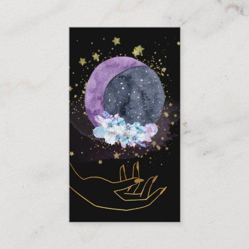 Crystals Moon Sky Cosmos Stars Hand Business Card