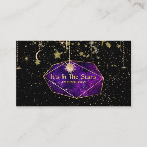 Crystals Moon Stars Cosmos Astrology Business Card