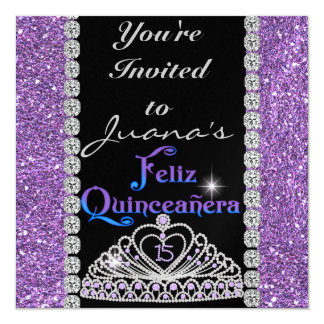 CRYSTALS  QUINCEANERA  PURPLE CARD