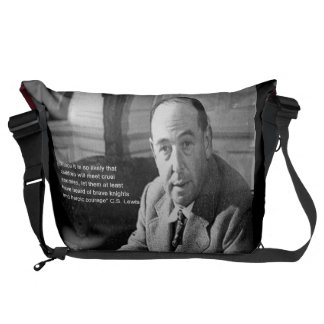 CS Lewis & Bravery Quote Large Messenger Bag