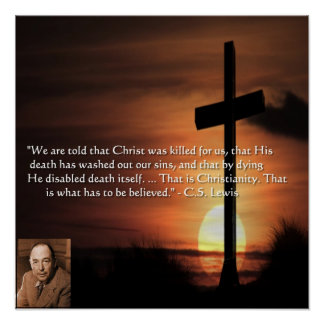 CS Lewis Graphic w/Christianity-Theme Poster