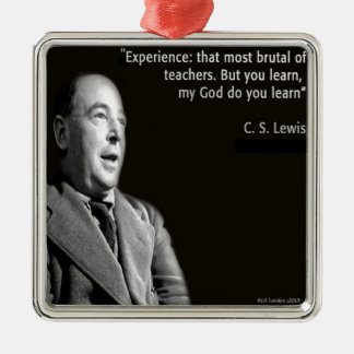 "CS Lewis ""My God"" Quote Square Metal Christmas Ornament"