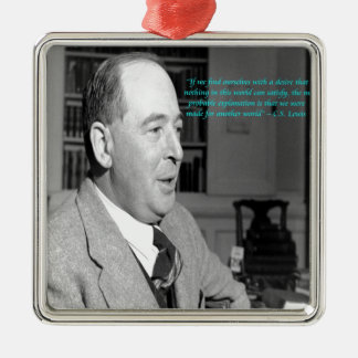 "CS Lewis & ""Other Worlds"" Quote Square Metal Christmas Ornament"