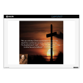 """CS Lewis W/Christian-Theme & Quote Gifts & Tees 17"""" Laptop Decal"""