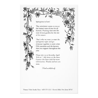 CSA farm newsletter floral border stationary Stationery