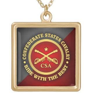 CSC -Confederate States Cavalry Gold Plated Necklace