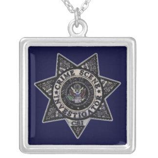 csi crime scene investigator badge silver plated necklace