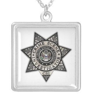 csi crime scene investigator badge square pendant necklace