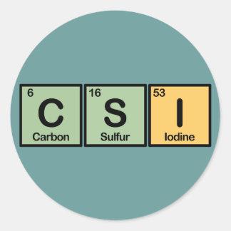 CSI hizo de elementos Pegatina Redonda