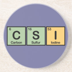 Sandstone Drink Coaster with CSI design