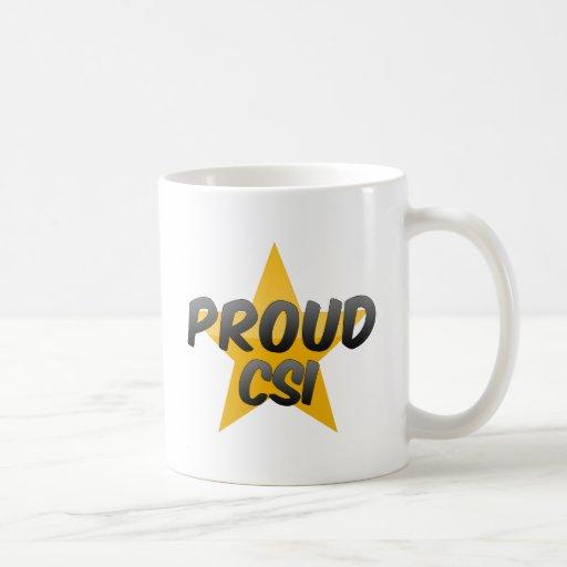 Csi orgulloso taza básica blanca