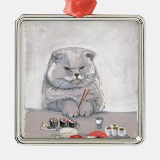 ©CSiravo de Sr. Grumps del gato del sushi Adorno Navideño Cuadrado De Metal