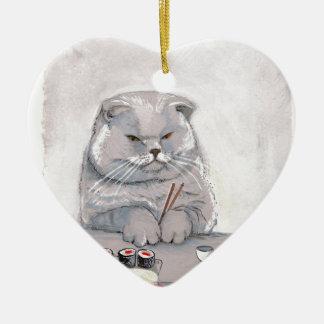 ©CSiravo de Sr. Grumps del gato del sushi Adorno Navideño De Cerámica En Forma De Corazón