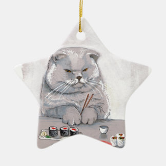 ©CSiravo de Sr. Grumps del gato del sushi Adorno Navideño De Cerámica En Forma De Estrella