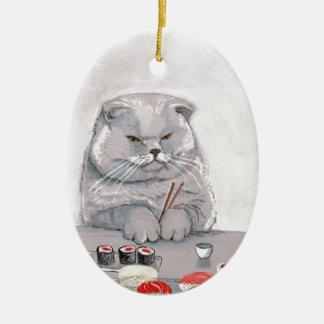 ©CSiravo de Sr. Grumps del gato del sushi Adorno Navideño Ovalado De Cerámica