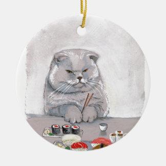 ©CSiravo de Sr. Grumps del gato del sushi Adorno Navideño Redondo De Cerámica