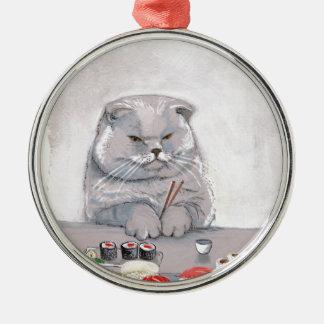 ©CSiravo de Sr. Grumps del gato del sushi Adorno Navideño Redondo De Metal