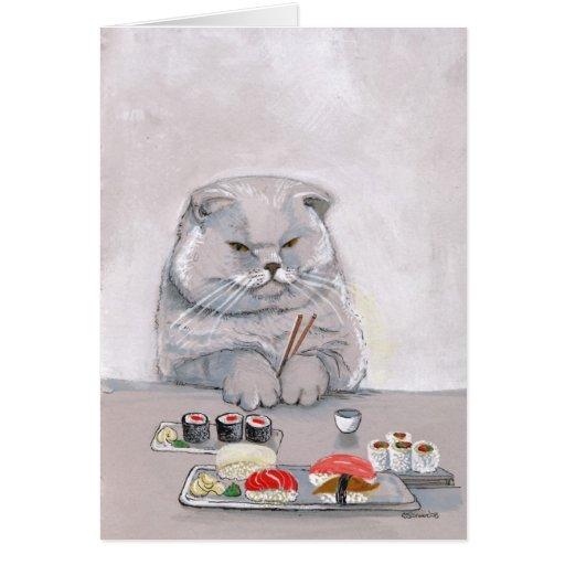 ©CSiravo de Sr. Grumps del gato del sushi Felicitaciones