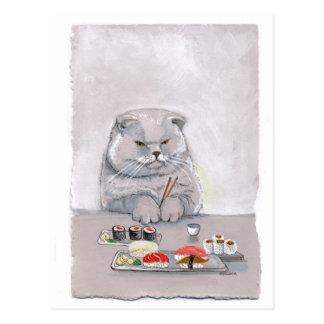 ©CSiravo de Sr. Grumps del gato del sushi Tarjetas Postales