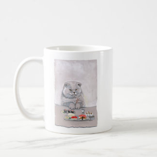 ©CSiravo de Sr. Grumps del gato del sushi Taza Básica Blanca