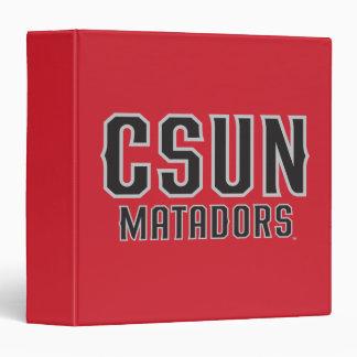 CSUN Matadors - Black with Gray Outline 3 Ring Binder