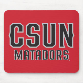 CSUN Matadors - Black with Gray Outline Mouse Pad