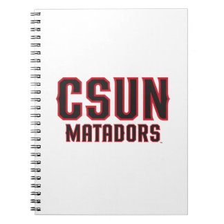 CSUN Matadors - Black with Red Outline Notebook