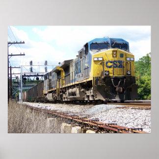 CSX Railroad AC4400CW #6 con un tren del carbón Póster