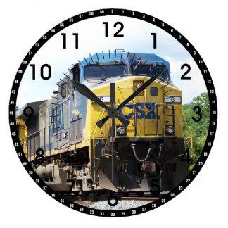 CSX Railroad AC4400CW #6 con un tren del carbón Reloj Redondo Grande