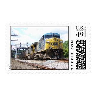 CSX Railroad AC4400CW #6 con un tren del carbón Timbres Postales