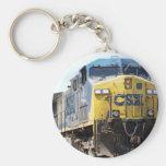 CSX Railroad AC4400CW #6 With a Coal Train Basic Round Button Keychain