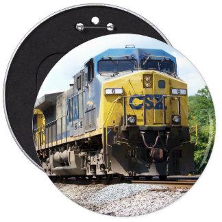 CSX Railroad AC4400CW #6 With a Coal Train 6 Inch Round Button