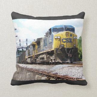 CSX Railroad AC4400CW #6 With a Coal Train Throw Pillows