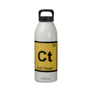 Ct - Coit Tower San Francisco Chemistry Symbol Reusable Water Bottles