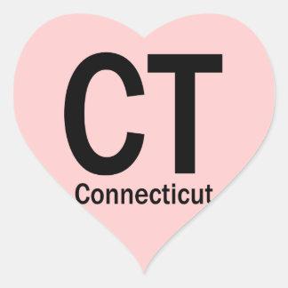 CT Connecticut plain black Heart Sticker