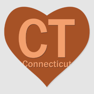 CT Connecticut plain orange Heart Stickers