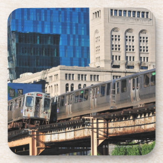 CTA rapid transit Orange Line and Green Line Drink Coaster