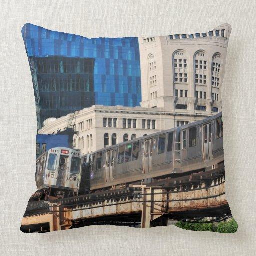 CTA rapid transit Orange Line and Green Line Throw Pillows