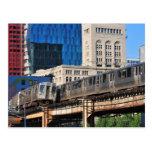 CTA rapid transit Orange Line and Green Line Postcard