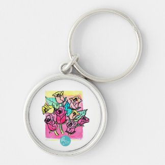 CTC International -  Roses 3 Silver-Colored Round Keychain